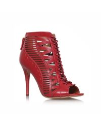 Nine West | Red Angellica Lace Up Heels | Lyst