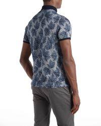 Ted Baker - Blue Fastfil Leaf Print Polo Shirt for Men - Lyst