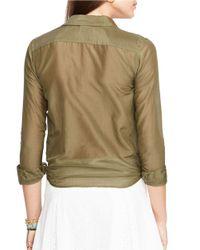 Lauren by Ralph Lauren | Green Silk-cotton Blend Shirt | Lyst
