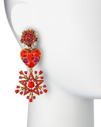 Oscar de la Renta - Red Crystal Stars & Heart Drop Earrings - Lyst