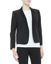 Halston | Black Cropped Tuxedo Blazer | Lyst
