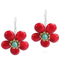 Aeravida | Cute Red Coral Flower Brass .925 Silver Earrings | Lyst