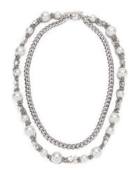 Givenchy | Metallic Silver-Tone Double Chain Necklace | Lyst