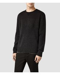 AllSaints - Black Bracton Crew Sweater for Men - Lyst