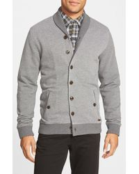 Ted Baker | Gray 'berdnor' Shawl Collar Cardigan Sweatshirt for Men | Lyst