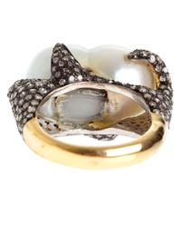 Samira 13 - White Diamond Encrusted Pearl Ring - Lyst