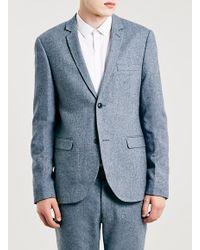 TOPMAN - Light Blue Wool Rich Textured Skinny Fit Suit Jacket for Men - Lyst