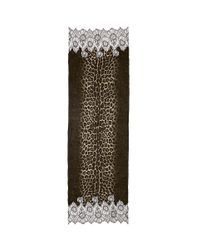 Valentino - Brown Lace Panel Jaguar Print Scarf - Lyst