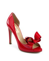 Valentino | Red D'orsay Patent Leather Bow Pumps | Lyst