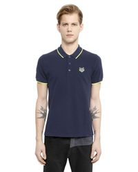 KENZO - Blue Cotton Piqué Polo With Contrasting Trim for Men - Lyst