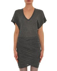 IRO - Gray Ginger Ruched Jersey Dress - Lyst