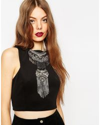 ASOS | Black Double Jewelled Bib Necklace | Lyst