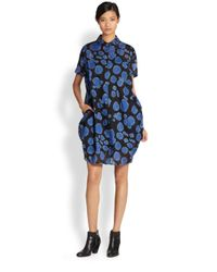 Tsumori Chisato | Blue Cats By Printed Cotton Shirtdress | Lyst