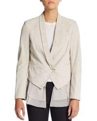 Brunello Cucinelli - White Suede & Silk Layered Vest Jacket - Lyst