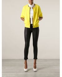 P.A.R.O.S.H. - Yellow Collarless Zipped Jacket - Lyst