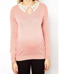 ASOS | Pink Exclusive Jumper with Daisy Lace Collar | Lyst