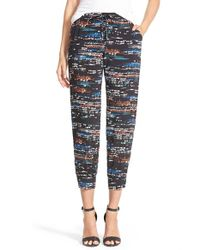 Splendid - Black 'city Lights' Print Crop Pants - Lyst