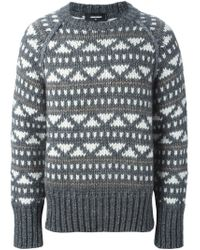 DSquared² - Gray Intarsia Knit Sweater for Men - Lyst