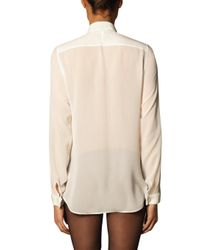 Saint Laurent - White Ruffle-Placket Silk Shirt - Lyst