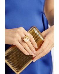 Munnu - Metallic 22karat Gold Rock Crystal and Ruby Rattle Ring - Lyst