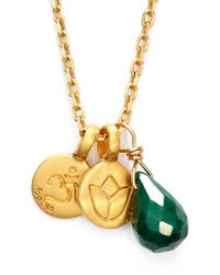 Satya Jewelry | Green Cluster Pendant Necklace | Lyst