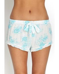 Forever 21 | Blue Ruffled Rose Pj Shorts | Lyst