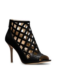 MICHAEL Michael Kors | Black Yvonne Open Toe High Heel Cage Booties | Lyst