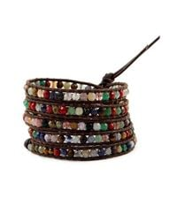Chan Luu | Multicolor Multi Stone Wrap Bracelet On Brown Leather | Lyst