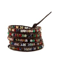 Chan Luu - Multicolor Multi Stone Wrap Bracelet On Brown Leather - Lyst
