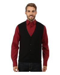 Perry Ellis - Black Cotton Blend Solid Sweater Vest for Men - Lyst