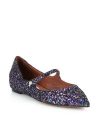 Tabitha Simmons Blue Glitter & Leather Mary Janes