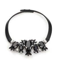 Givenchy - Black Crystal & Leather Collar Necklace - Lyst