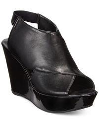 Kenneth Cole Reaction | Black Sole Safe Platform Wedge Sandals | Lyst