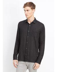 Vince - Black Melrose Cotton Double Layer Button Up With Square Hem for Men - Lyst