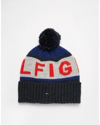 Tommy Hilfiger - Blue Fred Bobble Beanie Hat for Men - Lyst