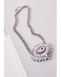 Missguided - Metallic Statement Crystal Pendant Necklace Silver - Lyst