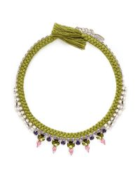Joomi Lim | Green Cotton Braid Crystal Necklace | Lyst