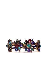 Erickson Beamon - Multicolor 'hyperdrive' Swarovski Crystal Floral Cluster Bangle - Lyst