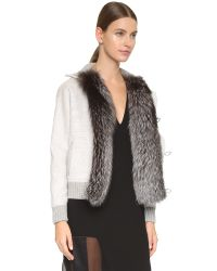 Prabal Gurung | Gray Coat With Fox Fur Trim - Heather Grey | Lyst