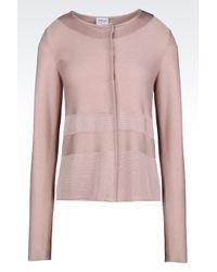 Armani   Pink Crew Neck Seamless Knit Jacket   Lyst