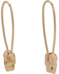 Loren Stewart   Yellow Gold Skull Safety Pin Earrings   Lyst