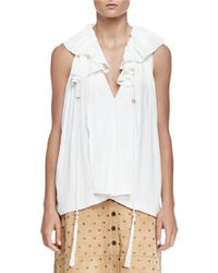 Lanvin - White Sleeveless Peasant Tie Blouse - Lyst