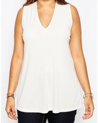 ASOS - Natural Tunic Top With Lace Up Back In Crepe - Lyst
