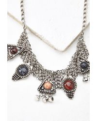 Forever 21 - Metallic Etched Faux Stone Statement Necklace - Lyst