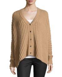 Michael Kors - Brown Wide-ribbed Cardigan - Lyst