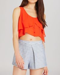 BCBGeneration - Orange Top - Flowing Button Front Crop - Lyst