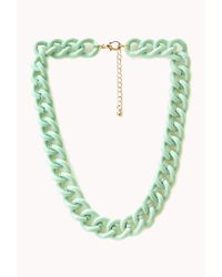Forever 21 - Green Sweet Thing Chain Necklace - Lyst