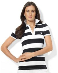 Lauren by Ralph Lauren | White Striped Polo Shirt | Lyst
