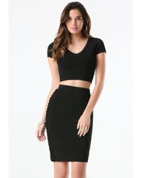 Bebe - Black Lattice Bandage Crop Top - Lyst