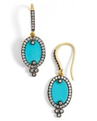 Freida Rothman | Green 'metropolitan' Oval Stone Drop Earrings - Gunmetal/ Turquoise | Lyst
